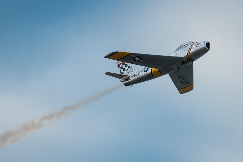 An F-86 Sabre Jet warbird flies an aerial demonstration over the Ohio River during the Thunder Over Louisville air show in Louisville, Ky. April 22, 2017. The annual event has grown to become the largest single-day air show in the nation. (U.S. Air National Guard photo by Lt. Col. Dale Greer)