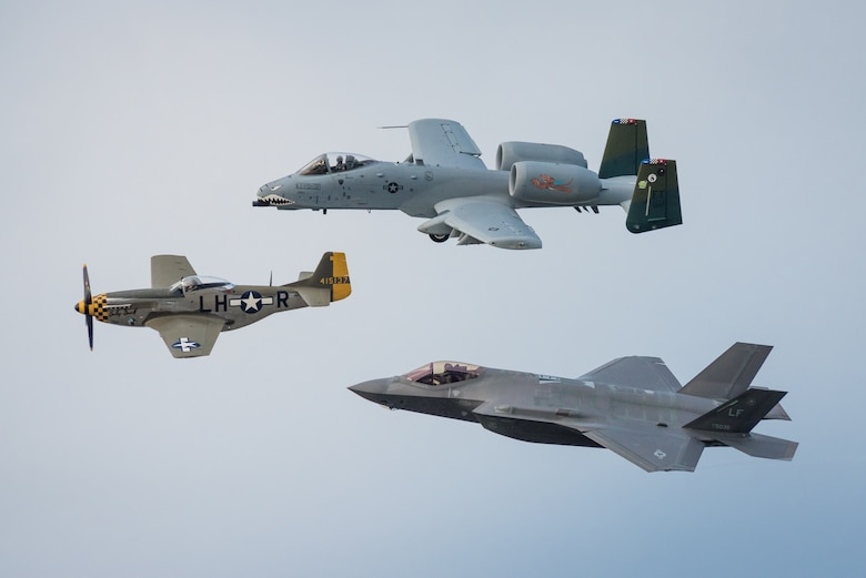 In honor of the U.S. Air Force 70th Anniversary, a trio of historic and modern aircraft fly an aerial demonstration over the Ohio River during the Thunder Over Louisville air show in Louisville, Ky., April 22, 2017. The group is comprised of (from left to right) a P-51 Mustang fighter-bomber, a U.S. Air Force A-10 Thunderbolt II close air support aircraft and a U.S. Air Force F-35 Lightning II. The F-35, from Luke Air Force Base, Ariz., is the Air Force's newest fighter aircraft. (U.S. Air National Guard photo by Lt. Col. Dale Greer)