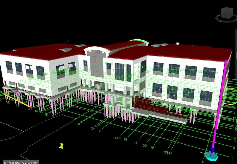 Figure 1. Yates Construction's leadership team finds great efficiencies are gained when they build a project twice.  By virtually building the ERDC headquarters building using BIM modeling software before physical construction started, Yates' project teams were able to create information rich models that contain valuable information regarding the building's design, potential constructability issues, as well as subcontractor logistics.