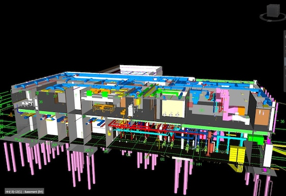Figure 2. In BIM modeling of the ERDC headquarters building there is not just one model created by the Yates Construction team, but several that are integrated into a composite master model.  Each discipline including structural engineering, mechanical, electrical and plumbing engineering creates a model independently of all the others, based upon the Mobile District's original contract plan set, which is the starting point.