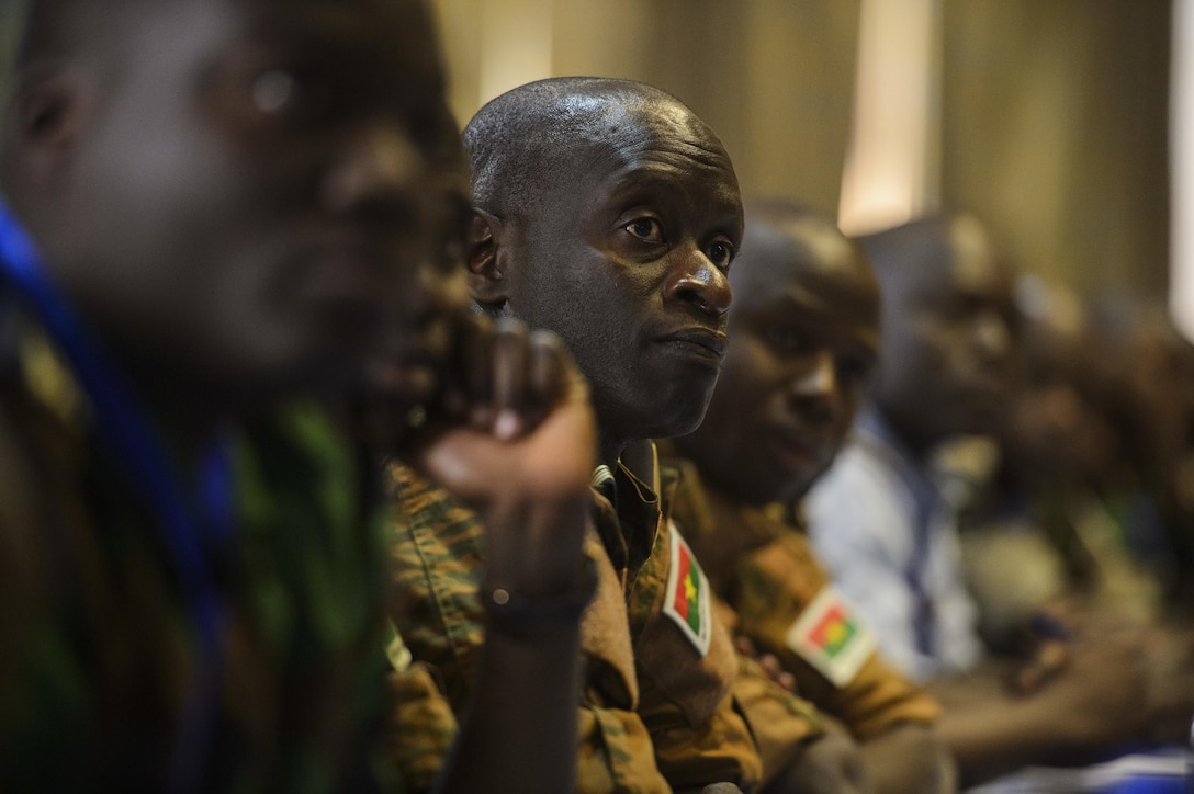African Partnership Flight participants listen to the instructor during classroom discussion in Ouagadougou, Burkina Faso, April 18, 2017. APF was designed as a combined learning environment for both U.S. and African partner nations in order to build aviation capacity, enhance regional cooperation and increase interoperability. (U.S. Air Force photo by Staff Sgt. Jonathan Snyder)