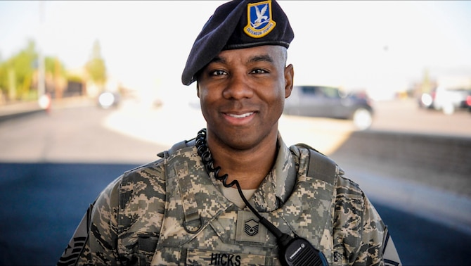 Master Sgt. David Hicks, 56th Security Forces Squadron NCO in charge of standards and evaluations, poses for a portrait April 18, 2017, at Luke Air Force Base, Ariz. Hicks has a passion for helping people and his current role with the 56 SFS gives him the opportunity to impact Air Force culture, help Airmen and push them towards their goals. (U.S. Air Force photo by Airman 1st Class Caleb Worpel)