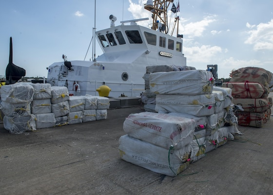 More than 3,825 pounds of cocaine await transfer to federal agents Wednesday, May 3, 2017 at Coast Guard Sector St. Petersburg, Florida. The contraband was interdicted during four separate cases supporting Operation Martillo, a joint interagency and multi-national collaborative effort among 14 Western Hemisphere and European nations to stop the flow of illicit cargo by Transnational Criminal Organizations. (U.S. Coast Guard photo by Petty Officer 1st Class Michael De Nyse)