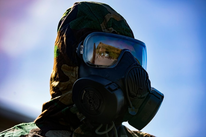 U.S. Marine Lance Cpl. Logan D. Whittington stands ready to conduct training during the Reconnaissance, Surveillance and Decontamination Training aboard Marine Corps Base Camp Pendleton, Calif., April 26, 2017. The purpose of this training is to accomplish missions within a chemical, biological, radiological and nuclear environment.  Whittington is currently with Headquarters and Service Company, 1st Maintenance Battalion, 1st Marine Logistics Group. (U.S. Marine Corps photo by Lance Corporal Salmineo Sherman Jr./Released)