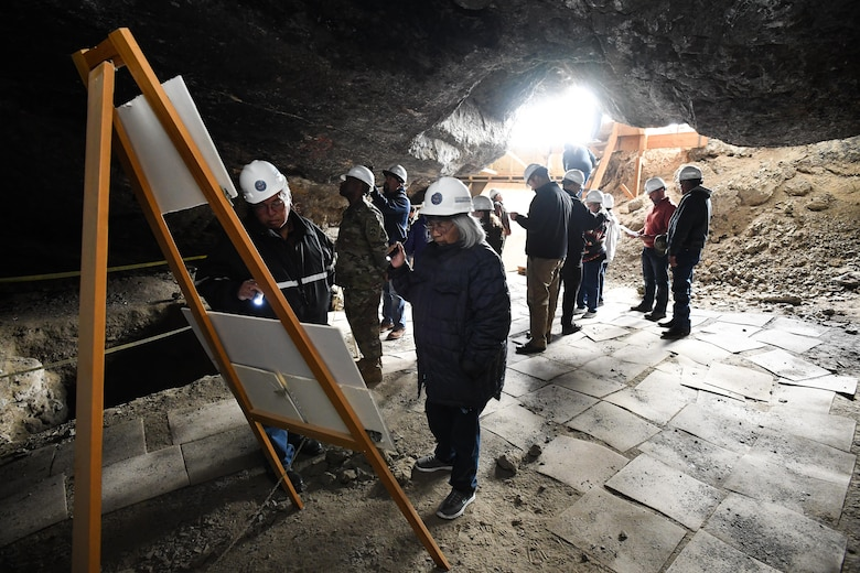Representatives from American Indian tribes and DOD agencies take part in a guided tour of Danger Cave, Wendover, Utah, April 28, 2017. The tour was part of an annual face-to-face meeting between DOD representatives and members of several American Indian tribes who claim ancestral and ongoing ties to lands managed by the DOD agencies. (U.S. Air Force photo/R. Nial Bradshaw)