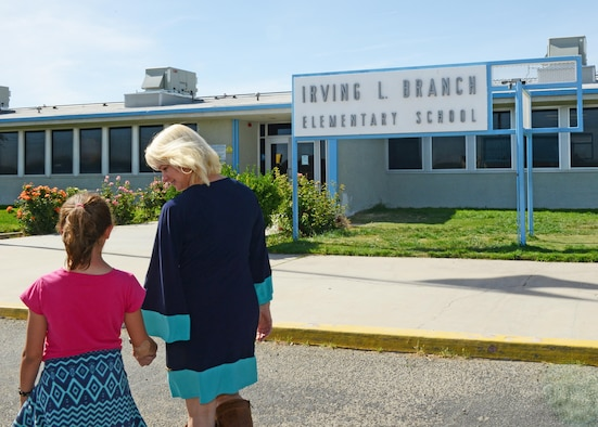 Irving L. Branch Elementary School on Edwards Air Force Base. (U.S. Air Force photo by Kenji Thuloweit)