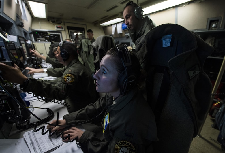 U.S. Air Force 1st Lt. Chelea Wight, an analysis engineer from the 625th Strategic Operations Squadron, monitors the status of a simulated Minuteman III missile aboard a U.S. Navy E-6B Mercury above the Pacific Ocean during Glory Trip 220, April 26, 2017. Glory Trip is an operational test launch which continues a long history of launches from Vandenberg Air Force Base, Calif., used to verify, validate and improve the capability of the nation's ICBM force. (U.S. Air Force photo by Airman 1st Class Keifer Bowes)