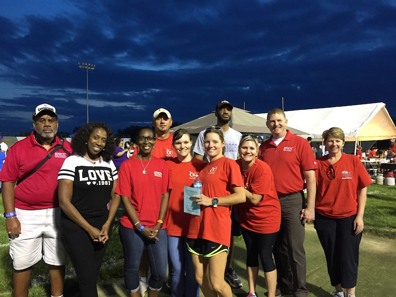 Team ERDC pose for a photograph at the 2017 Relay for Life event held at Vicksburg High School April 21.  Pictured are Anthony Stevens, Daffney Wells, Cynthia Brown, Jeremiah Pant, Erin Mathews, Clare Huntley, Quincy Alexander, Jenny Jabour, Col. Bryan Green and Yana Green.