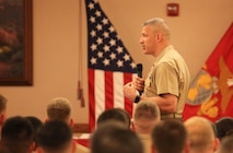 Brig. Gen. William Mullen III gives a graduation speech to the recent graduates of the Weapons and Tactics Instructor Course 2-17 at Marine Corps Air Station Yuma, April 30, 2017. WTI is a seven week period of instruction that incorporates Marine Corps planning and implementation of advanced air and ground tactics through a series of escalating evolutions in order to produce certified Weapons and Tactics Instructors. More than 200 Marines and Sailors graduated from this class of WTI. Mullen is the commanding general of Marine Air Ground Task Force Training Command, Marine Corps Air Ground Combat Center. (U.S. Marine Corps photo by Lance Cpl. Cody Lemons/Released)