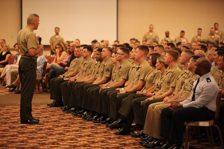 Brig. General William Mullen III speaks to the recent graduates of the Weapons and Tactics Instructor Course 2-17 at Marine Corps Air Station Yuma, Ariz., April 30, 2017. WTI is a seven week period of instruction that teaches advanced air and ground tactics in order to produce certified Weapons and Tactics Instructors. More than 200 Marines and Sailors graduated from this class of WTI. Mullen is the commanding general of Marine Air Ground Task Force Training Command, Marine Corps Air Ground Combat Center. (U.S. Marine Corps photo by Lance Cpl. Cody Lemons/Released)