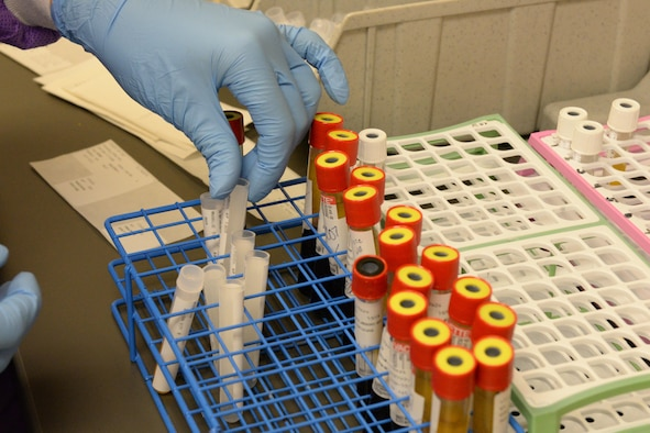 Airman 1st Class Kristen Lowder, a medical laboratory technician assigned to the 28th Medical Support Squadron, sorts through different blood samples inside the medical laboratory at Ellsworth Air Force Base, S.D., April 24, 2017. The samples are tested for different infections, blood types and drug use. (U.S. Air Force photo by Airman Nicolas Z. Erwin)