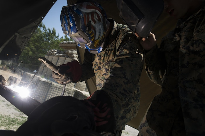 Lance Cpl. Marcus X. Patino, a landing support specialist with the Logistics Combat Element, Special Purpose Marine Air-Ground Task Force - Southern Command, practices welding during General Exercise 2 at Marine Corps Base Camp Lejeune, North Carolina, April 28, 2017.