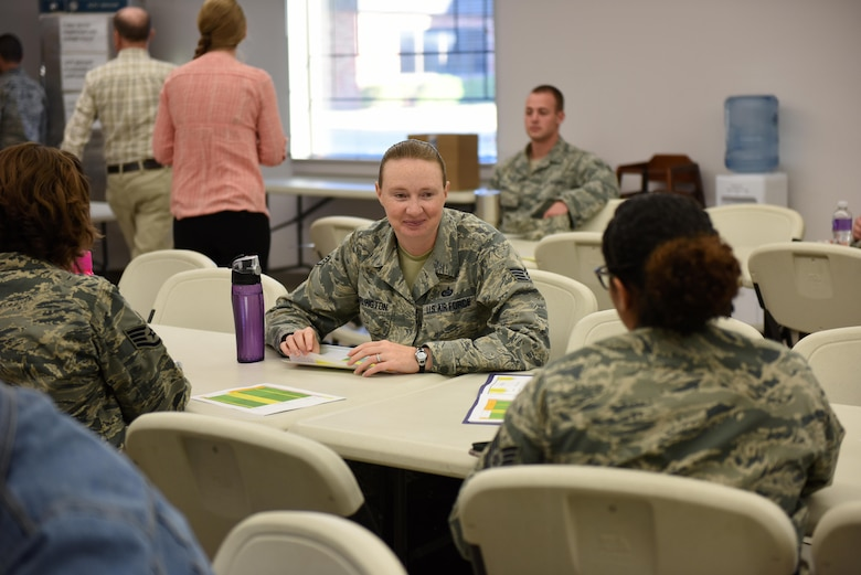 Goodfellow enlisted service members converse before the Caring for People Forum at Taylor Chapel on Goodfellow Air Force Base, Texas, May 4, 2017. The Caring for People Forum is an Air Force initiative for base improvement based off of member's requests. (U.S. Air Force photo by Airman 1st Class Caelynn Ferguson/ Released)