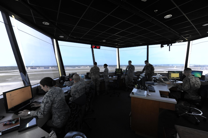 Air traffic controllers monitor incoming and scheduled aircraft at Hurlburt Field, Fla., May 3, 2017. Air traffic controllers provide safe and organized flow of aircraft on the flight line and in the air by monitoring and keeping track of scheduled incoming and departing aircraft .(U.S. Air Force photo by Airman 1st Class Isaac O. Guest IV)