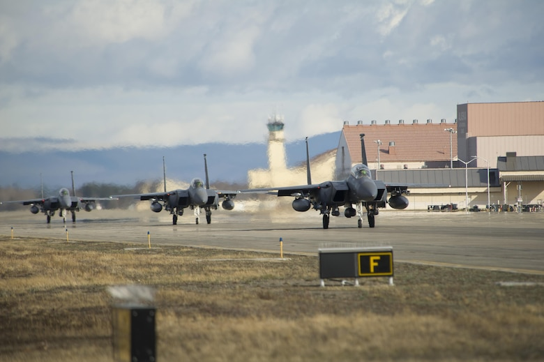 EIELSON AIR FORCE BASE, Alaska – U.S. Air Force F-15 Strike Eagle aircraft assigned from Seymour Johnson Air Force Base, North Carolina, taxis down the flight line during NORTHERN EDGE 2017 (NE17), May 4, 2017, at Eielson Air Force Base, Alaska. NE17 is Alaska's premier joint training exercise designed to practice operations, techniques and procedures as well as enhance interoperability among the services. Thousands of participants from all the services, Airmen, Soldiers, Sailors, Marines and Coast Guardsmen from active duty, Reserve and National Guard units are involved. (U.S. Air Force photo by Airman 1st Class Isaac Johnson)