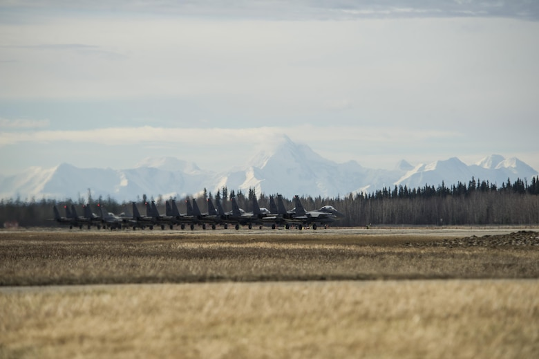 EIELSON AIR FORCE BASE, Alaska – U.S. Air Force F-15 Strike Eagle aircraft prepare to take off during NORTHERN EDGE 2017 (NE17), May 4, 2017, at Eielson Air Force Base, Alaska. NE17 is Alaska's premier joint training exercise designed to practice operations, techniques and procedures as well as enhance interoperability among the services. Thousands of participants from all the services, Airmen, Soldiers, Sailors, Marines and Coast Guardsmen from active duty, Reserve and National Guard units are involved. (U.S. Air Force photo by Airman 1st Class Isaac Johnson)