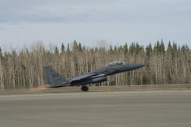 EIELSON AIR FORCE BASE, Alaska – A U.S. Air Force F-15 Strike Eagle aircraft from Seymour Johnson Air Force Base, North Carolina, takes off during NORTHERN EDGE 2017 (NE17), May 4, 2017, at Eielson Air Force Base, Alaska. NE17 is Alaska's premier joint training exercise designed to practice operations, techniques and procedures as well as enhance interoperability among the services. Thousands of participants from all the services, Airmen, Soldiers, Sailors, Marines and Coast Guardsmen from active duty, Reserve and National Guard units are involved. (U.S. Air Force photo by Airman 1st Class Isaac Johnson)