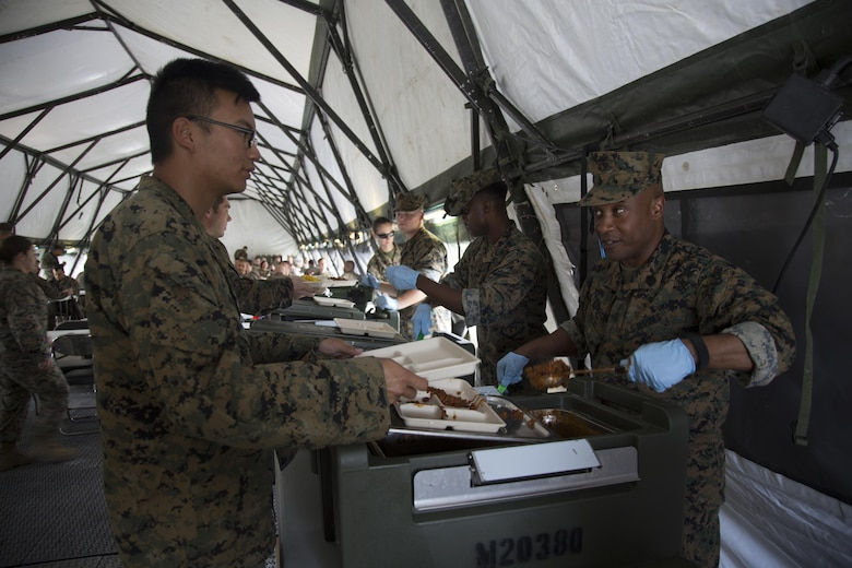 United States Marine Corps Sgt. Maj. Mario P. Fields, sergeant Major of III Marine Expeditionary Force Headquarters Group, serves lunch to III MEF Marines during Marine Expeditionary Force Exercise 17, at Camp Hansen, Okinawa, Japan, April 21, 2017. The command and control exercise prepared III MEF commanders and staff to integrate with international allies and partner nations in a combined joint task force, charged with accomplishing a wide range of military operations. Fields is a native of Jacksonville, North Carolina. (U.S. Marine Corps Photo By Lance Cpl. Austyn Krecicki)