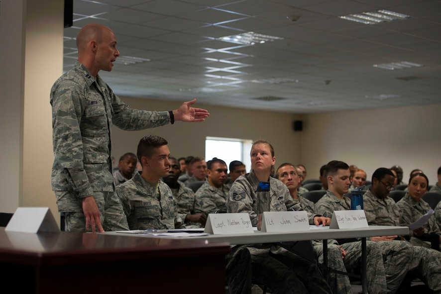 U.S. Air Force Capt. Nathan Royer, 39th Air Base Wing (ABW) Area Defense Council, contests a point during a Sexual Assault Awareness and Prevention Month (SAAPM) mock trial April 27, 2017, at Incirlik Air Base, Turkey. Royer played as the Senior Defense Council for Incirlik's first SAAPM mock trial, which was organized by the 39th ABW Legal Office and Sexual Assault Response Coordinator to inform Airmen on the legal process of a sexual assault case. (U.S. Air Force photo by Airman 1st Class Devin M. Rumbaugh)