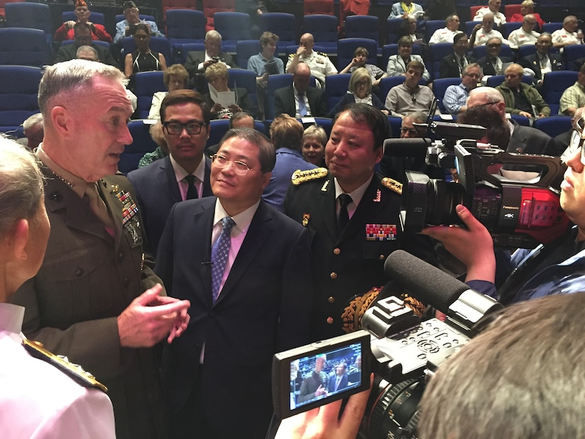 Chairman of the Joint Chiefs of Staff Marine Corps Gen. Joe Dunford speaks to South Korean media before the dedication of the Chosin Few Battle Monument at the National Museum of the Marine Corps in Quantico, Va., May 4, 2017. DoD photo by Jim Garamone