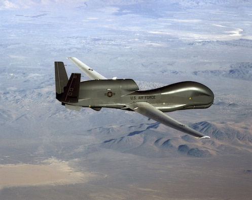 Robins Air Force Base is the first installation hosting an air Logistics Complex to receive an RQ-4 Global Hawk for paint and depaint work. Shown here, an RQ-4 Global Hawk soars through the sky to record intelligence, surveillence and reconnaissance data. (Courtesy photo)