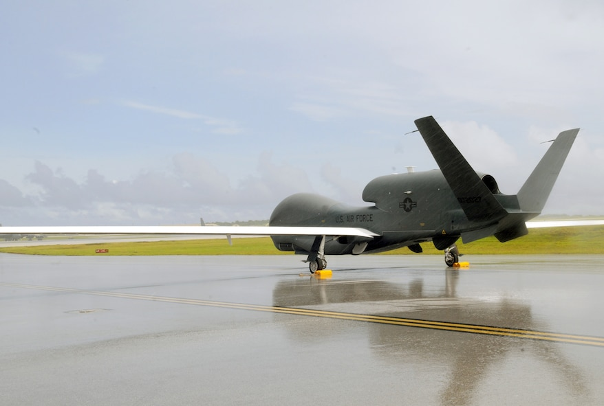Robins Air Force Base is the first installation hosting an air Logistics Complex to receive an RQ-4 Global Hawk for paint and depaint work. The one pictured was used to assist Japan in disaster relief and recovery efforts in 2010.  (U.S. Air Force photo/Senior Airman Nichelle Anderson)
