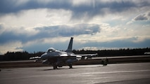 A U.S. Air Force F-16 Fighting Falcon aircraft assigned to the 13th Fighter Squadron, Misawa Air Base, Japan, taxis out during Exercise Northern Edge 2017, at Eileson Air Force Base, Alaska, May 4, 2017. Northern Edge is Alaska's largest and premier joint training exercise designed to practice operations, techniques and procedures as well as enhance interoperability among the services. Thousands of participants from all the services—Airmen, Soldiers, Sailors, Marines and Coast Guard personnel from active duty, Reserve and National Guard units—are involved.