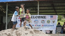Filipino children pose for a photo at a disaster preparedness symposium during Balikatan 2017 in Ormoc City, Leyte, May 2, 2017. The Armed Forces of the Philippines along with representatives from Japan Self-Defense Force, Australian Defence Force, and U.S. military worked with a local barangay to improve health conditions and disaster preparedness. Balikatan is an annual U.S.-Philippine bilateral military exercise focused on a variety of missions, including humanitarian assistance and disaster relief, counterterrorism, and other combined military operations.