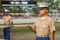 Pham graduated Marine Corps recruit training May 5, 2017, aboard Marine Corps Recruit Depot Parris Island, South Carolina. Pham is the Honor Graduate of platoon 2036. Pham was recruited by Sergeant Omar L. Butler from Recruiting Substation Memphis. (U.S. Marine Corps photo by Lance Cpl. Jack A. E. Rigsby/Released)