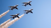 The Japan Air Self-Defense Force's Blue Impulse performs aerial demonstrations during the 41st Japan Maritime Self-Defense Force – Marine Corps Air Station Iwakuni Friendship Day at MCAS Iwakuni, Japan, May 5, 2017. Since 1973, MCAS Iwakuni has held a single-day air show designed to foster positive relationships and offer an elevating experience that displays the communal support between the U.S. and Japan. The air show also encompassed various U.S. and Japanese static aircraft displays, aerial performances and demonstrations, food and entertainment.