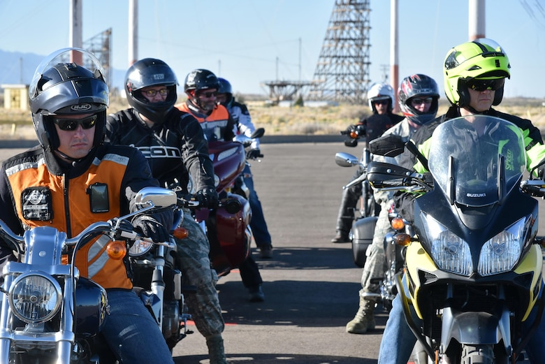 Cyclists in the Motorcycle Safety Foundation's basic rider course  prepare to demonstrate their riding skills. To sign up for a Rider Course, go to https://sites.google.com/site/kafbriders. The courses are free and required by the Air Force for anyone wishing to ride on base.