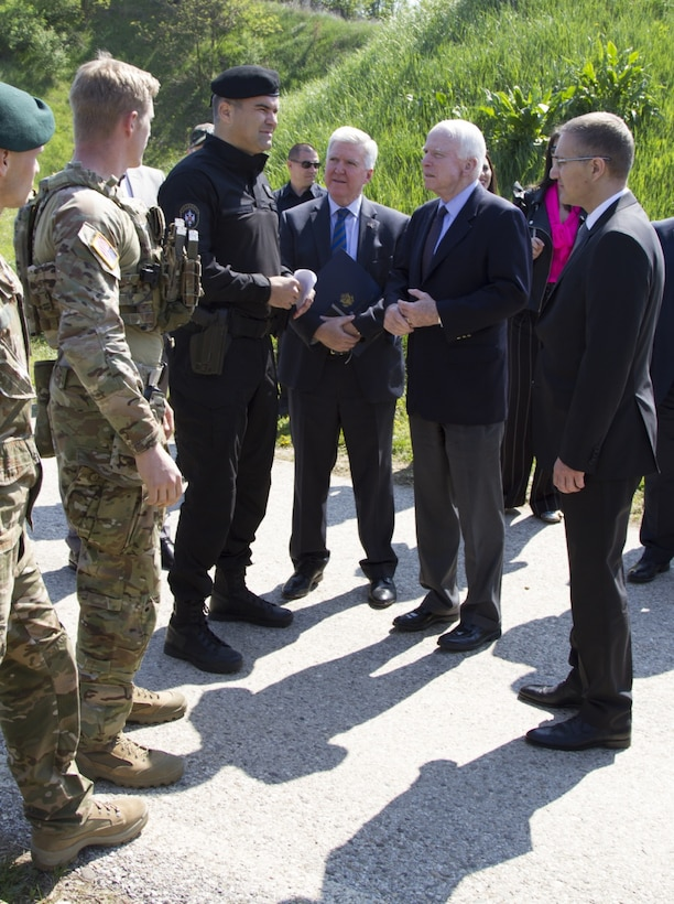 U.S. special operations forces greet U.S. Sen. John McCain, U.S. Ambassador Kyle Randolph Scott, Serbian Minister of Internal Affairs, Nebojsa Stefanovic and Serbian special anti-terrorist unit commander, Spasoje Vulevic, during a joint combined exchange training exercise at the unit's headquarters complex in Serbia, April 10, 2017. The unit serves as a special operations and tactical unit of the Serbian police and received training from April 3-30 in a variety of tactics and techniques over the course of the JCET to increase their effectiveness in future operations. Army photo by Sgt. Nelson Robles