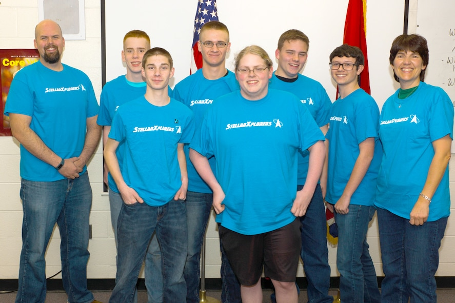 The Coffee County Central High School Air Force Junior ROTC StellarXplorers Team One received second place in the Air Force Association StellarXplorers space system design competition, Prestige Division, in March. During the competition, teams are asked for their solutions to a typical space design problem, such as orbit determination, satellite component selection and launch vehicle planning, as outlined in a scenario describing the system's mission and constraints. Pictured, from left, is Chad Overcast, team mentor and AEDC physicist; Team One member Oren Harper; Team Two members Tyler Vaughn and Elisha Carter; Team One member Stuart Jackson; Team Two member Alexander Brown; Team One member Garrett Farrar; and Kim Nelson, team mentor and Women in Defense membership director. Not pictured: Team Two member Malachi Lovely. (Courtesy photo)