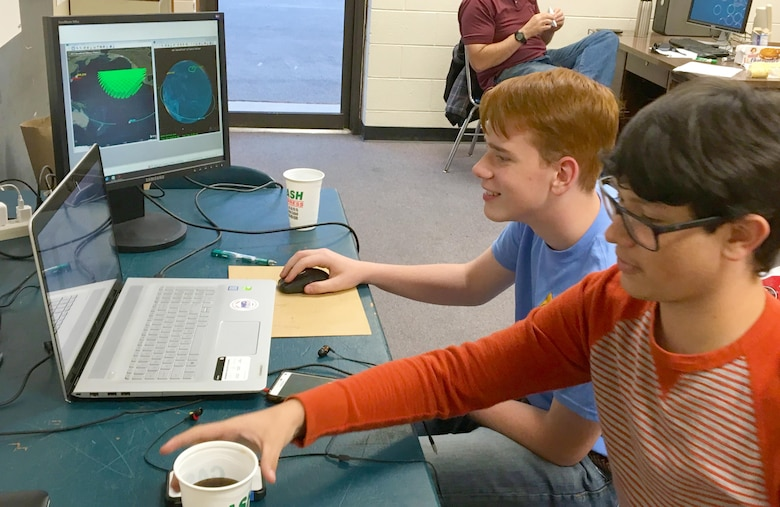 Oren Harper and Garrett Farrar prepare for the Air Force Association StellarXplorers space system design competition in November 2016. Both students at Coffee County Central High School are members of the Air Force Junior ROTC. They recently competed in March as the Coffee County High School Team One and placed second in the competition for the East Region. The High School had two teams who competed in the Prestige Division. As part of the competition, teams must present solutions to a typical space design problem, such as orbit determination, satellite component selection and launch vehicle planning, as outlined in a scenario describing the system's mission and constraints. The AEDC Science, Technology, Engineering and Mathematics Center coordinator, Jere Matty, and the Women in Defense membership director, Kim Nelson, provided support that enabled the team to compete. (Courtesy photo)