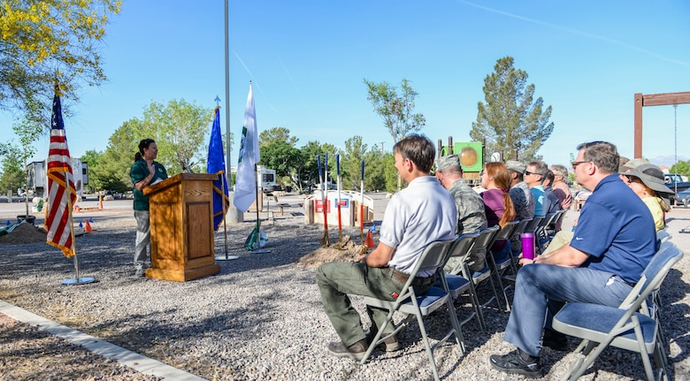 Lisa Ortega, state Urban Forester from the Nevada Division of Forestry, discusses the importance of Arbor Day at the Desert Eagle RV Park playground on Nellis Air Force Base, May 3, 2017. Arbor Day is celebrated by planting trees and giving back to the environment. The first Arbor Day was celebrated April 10, 1872. (U.S. Air Force photo by Airman 1st Class Andrew D. Sarver/Released)