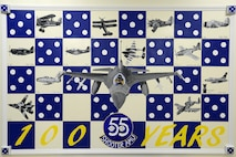 A hand painted mural depicts aircraft flown in the past 100 years of service for the 55th Fighter Squadron and 55th Aircraft Maintenance Unit at Shaw Air Force Base, S.C., April 28, 2017. After approximately 55 hours spent painting, the mural was completed April 28 with the addition of a protective coating and wooden border. (U.S. Air Force photo by Senior Airman Kelsey Tucker)