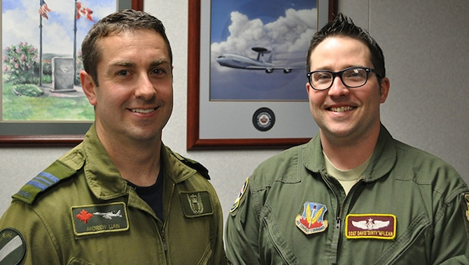 Canadian Hockey Team captain, Andrew, left, and U.S. captain David, will help guide their squads May 12 at the Blazers Ice Center 8000 S. Interstate Road, in Oklahoma City.  The ninth annual CAN/US Cup will begin at 6 p.m. for bragging rights among the 552nd Air Control Wing colleagues.