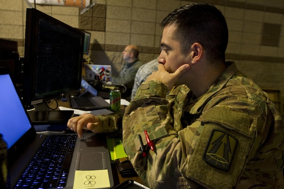 Capt. Humberto Nieves, an Army information systems manager assigned to the 335th Signal Command (Theater) out of East Point, Ga., executes a malicious code as part of a training inject during Cyber Shield 17 at Camp Williams, Utah, May 2, 2017. Cyber Shield is a National Guard exercise, in cooperation with U.S. Army Reserve, that provides Soldiers, Airmen and civilians from over 44 states and territories the opportunity to test their skills in response to cyber-incidents in a multi-service environment. (U.S. Army Reserve photo by Sgt. Stephanie Ramirez)