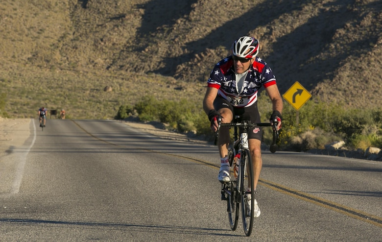 A Park to Park Ride participant cycles through Joshua Tree National Park, April 29, 2017. The event, hosted by Natural Resources and Environmental Affairs, Joshua Tree National Park and the city of Twentynine Palms, Calif. took riders from Knott's Sky Park through Joshua Tree National Park to Keys View and back as the final event of Earth Day celebrations in the month of April. (U.S. Marine Corps photo by Cpl. Dave Flores)