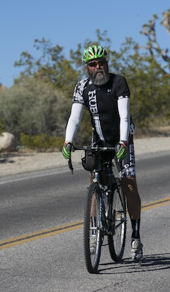 A participant of the Park to Park Ride slows down at one of the rest stops in Joshua Tree National Park, Calif., April 29, 2017. The event, hosted by Natural Resources and Environmental Affairs, Joshua Tree National Park and the city of Twentynine Palms, took riders from Knott's Sky Park through Joshua Tree National Park to Keys View and back as the final event of Earth Day celebrations in the month of April. (U.S. Marine Corps photo by Cpl. Dave Flores)