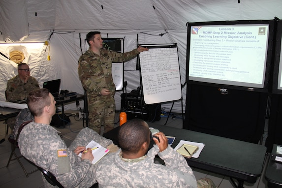 Capt. Jason Stoterau, of Orland Park, Illinois, teaches the Mission Analysis step of the Military Decision Making Process to the command team of the 457th Transportation Battalion at the battalion's tactical command post. Stoterau serves as an observer controller/trainer with 1st Brigade, Great Lakes Training Division, 75th Training Command, during the ongoing WAREX 86-17-02 at Ft. McCoy, Wisconsin.