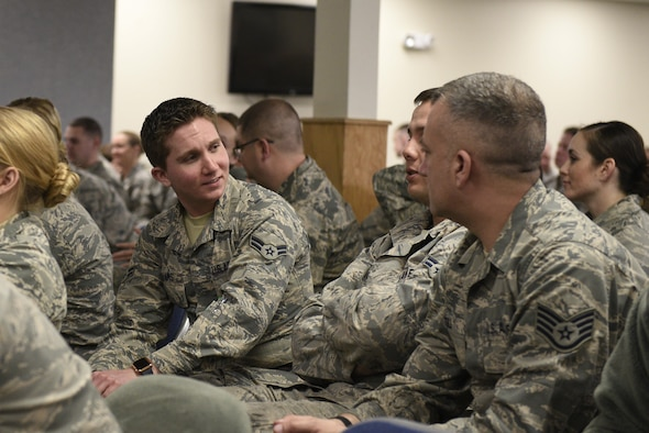 Airmen First Class Damian Williams, 120th Airlift Wing crew chief, discusses scenarios during a Green Dot training April 1, 2017 on sexual assault awareness and suicide prevention. Montana Air National Guard hosted Green Dot training for members from the 120th Airlift Wing, Great Falls, and Joint Force Headquarters, Helena. (U.S. Air National Guard photo by Staff Sgt. Lindsey Soulsby)