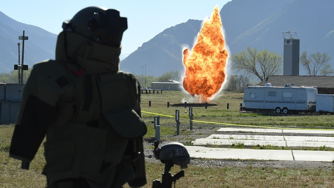 An explosion is detonated May 5 at Hill Air Force Base, Utah, during a mud run hosted by the 775th Explosive Ordnance Disposal Flight. The mud run was part of National Explosive Ordnance Disposal Day, a day to remember EOD technicians who have paid the ultimate sacrifice. There have been 133 EOD technicians killed while performing their craft since 2001, 20 of those being Air Force and four from Hill AFB. (U.S. Air Force/R. Nial Bradshaw)