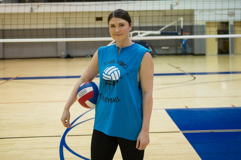 U.S. Air Force Airman 1st Class Heather Millisor, a 354th Medical Operations Squadron public health technician, poses for a photo April 20, 2017, at Eielson Air Force Base, Alaska. Millisor is one of four enlisted Airmen trying out for the Air Force women's volleyball team. (U.S. Air Force photo by Airman 1st Class Isaac Johnson)