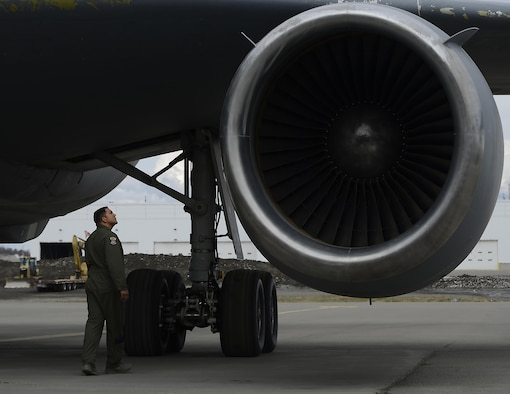U.S. Air Force Tech. Sgt. Fernando Chavez, KC-10 Extender flight engineer with the 9th Air Refueling Squadron based out of Travis Air Force Base, Calif., conducts a pre-flight inspection prior to taking off from Ted Stevens Anchorage International Airport, May 4, 2017, to support exercise Northern Edge 2017. NE17 is Alaska's premier joint training exercise designed to practice operations, techniques and procedures as well as enhance interoperability among the services.