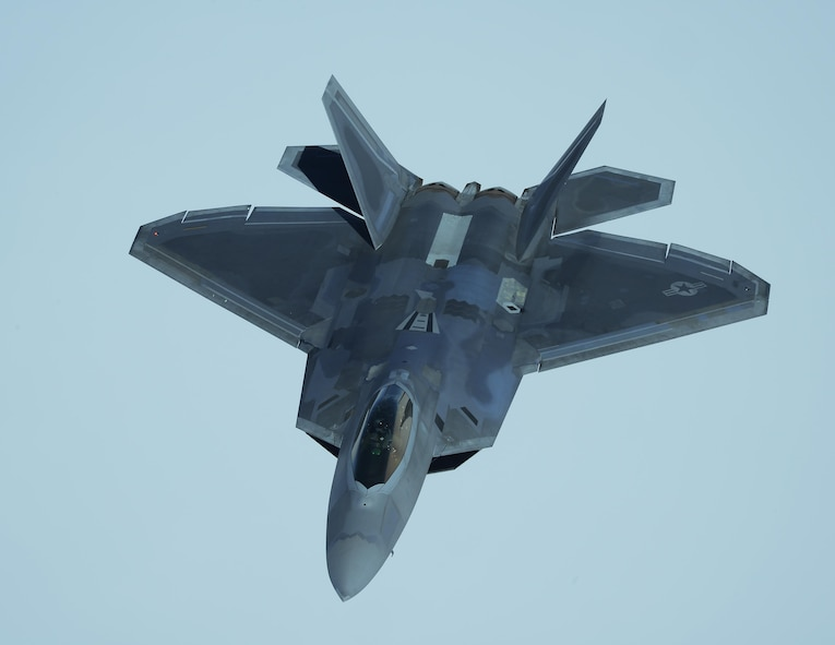 A U.S. Air Force F-22 Raptor approaches a KC-10 Extender from the 9th Air Refueling Squadron based out of Travis Air Force Base, Calif., to receive in-flight refueling during exercise Northern Edge 2017, May 4, 2017. NE17 is Alaska's premier joint training exercise designed to practice operations, techniques and procedures as well as enhance interoperability among the services.