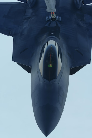 A U.S. Air Force F-22 Raptor is refueled by a KC-10 Extender from the 9th Air Refueling Squadron, Travis Air Force Base, Calif., during exercise Northern Edge 2017, May 4, 2017. NE17 is Alaska's premier joint training exercise designed to practice operations, techniques and procedures, as well as enhance interoperability among the services.
