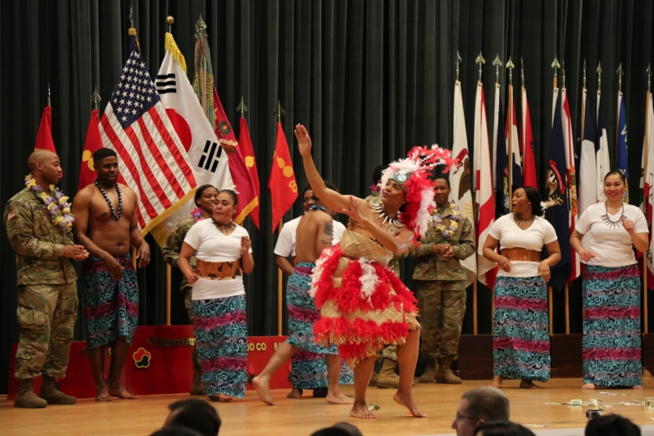 Soldiers perform a traditional Samoan dance during the Asian American Pacific Islander Heritage Month observance at Camp Carroll in Waegwan, South Korea, May 4, 2017. The demonstrations showcased the rich cultural heritage that is a part of America's diverse military. Army photo by Cpl. Sin Jae-Hyung