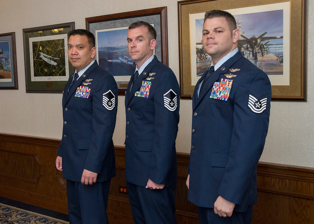 (From Left to Right) U.S. Air Force Master Sgt. Alex, Master Sgt. Mike and Tech. Sgt. Mike, Enlisted Pilot Initial Class students, stand together after graduation from the 558th Flying Training Squadron's Remotely Piloted Aircraft Fundamentals Course May 5, 2017, at Joint Base San Antonio-Randolph, Texas.  The three Airmen are the first enlisted personnel to graduate from the course, making them the service's first enlisted pilots since 1961. (U.S. Air Force Photo by Melissa Peterson)