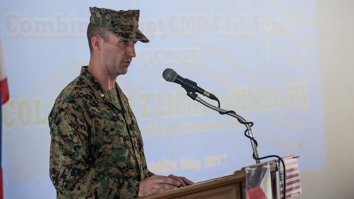 U.S. Marine Lt. Col. Ryan E. Scott delivers his opening remarks during the opening ceremony for the Combined Joint Civil-Military Operations Task Force during Balikatan 2017 in Camp Lapulapu, Cebu, May 1, 2017. Scott is the commanding officer of the CJCMOTF during Balikatan 2017. Balikatan is an annual U.S.-Philippine bilateral military exercise focused on a variety of missions, including humanitarian assistance and disaster relief, counterterrorism and other combined military operations.